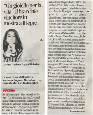 About Sogand Nobahar on Libertà Piacenza newsletter