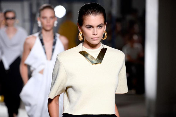 Kaia Gerber walks the runway for Proenza Schouler during New York Fashion Week ss 2020