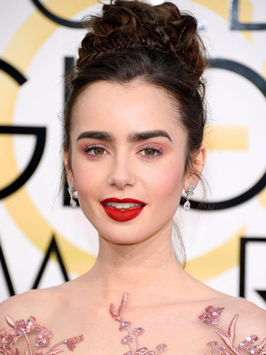 LILY COLLINS in vintage Harry Winston