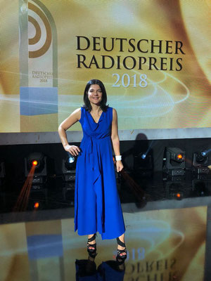 Jasmin Tabatabai wearing Nobahar Design Milan during Radio prize 2018