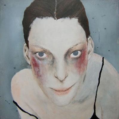 『girl's portrait』S10(530x530mm) アクリル、クレパス、キャンバス
