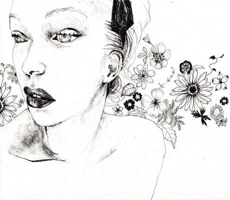『Miss Dimanche』A4(210x297mm) 鉛筆、画用紙