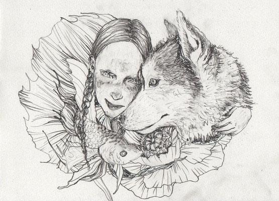 sold 『Miss Lundi』A4(210x297mm) 鉛筆、画用紙