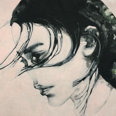 Listening carefully 05  acrylic on canvas   300x300mm   2017
