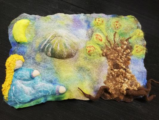 3D Filzbild Märchenlandschaft von Heike Giesbert