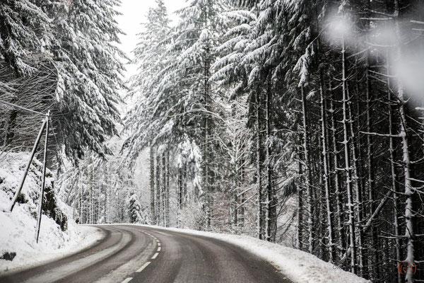 Winterstraße durch die Wälder der Vogesen