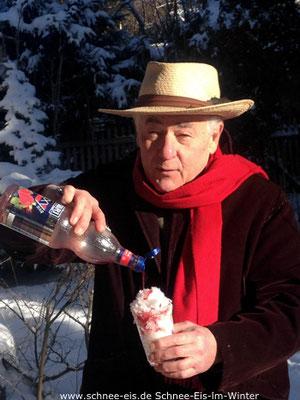 Sig. Rossi mit Schnee-Eis im Winter