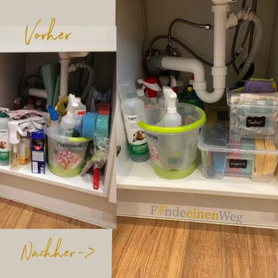 Oft verliert man im Spülschrank den Überblick. Kisten machen es auch hier wieder einfacher :)