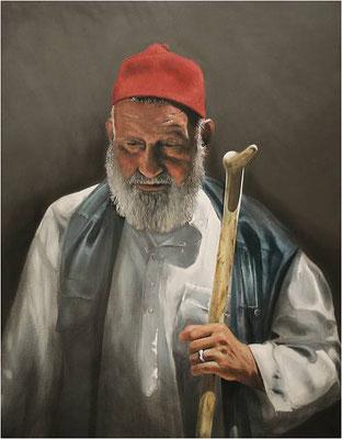 """""""Mann mit rotem Hut"""", 80 x 100 cm Öl auf Leinwand"""