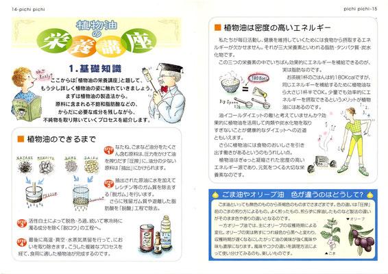 【冊子】日本植物油協会広報誌「Pichi Pichi」本文イラスト