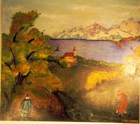 """""""Der Wille zur Wurst 1"""",  2001 Öl und Gouache auf Holz, 60 X 60 cm"""