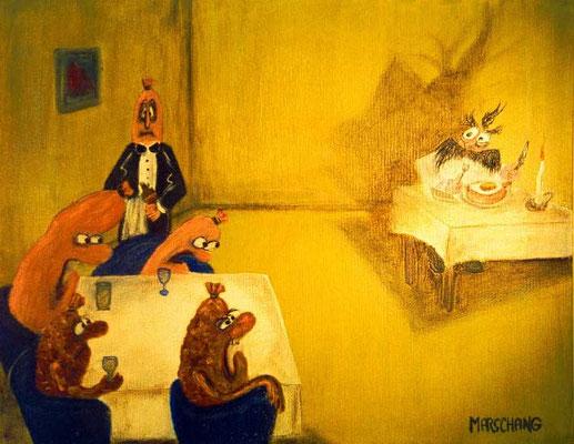 """""""Der Wille zur Wurst 2"""", 2001 Öl und Gouache auf Leinwand, 40 X 50 cm"""