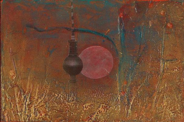 Vor Sonnenuntergang,  Mischtechnik auf Holz 10cm x 15cm