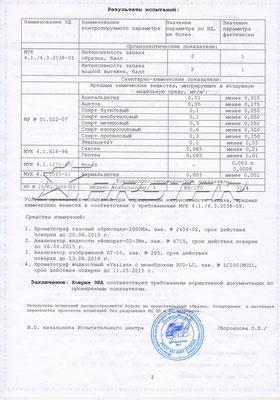 """Протокол испытаний """"Ростест"""" 2014 года, 2 страница"""