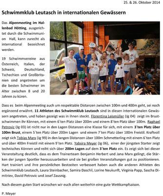PR Bericht Alpenmeeting Okt 2014