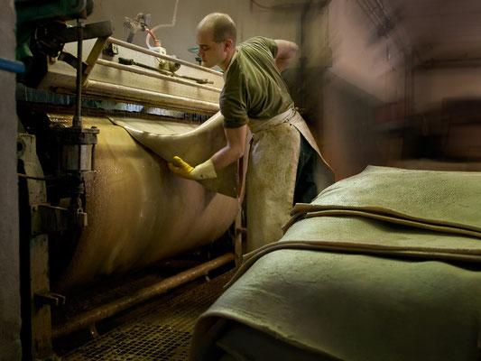 """Die Häute werden kurz in warmes Wasser gelegt und danach auf der Glättmaschine (Streichmaschine / Schlickerwalze) narbenseitig restgesäubert. Der Gerber spricht hier von der Entfernung des """"Gneist"""", der aus Schmutzteilen besteht."""
