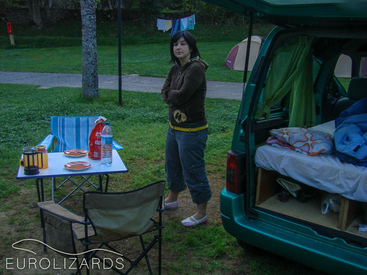 Getting up for another hike (yes: back in those days we did camping holidays!)