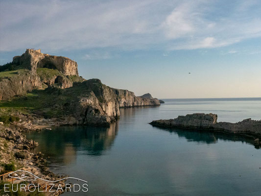 Coast at Lindos: perfect scenery for lizarding