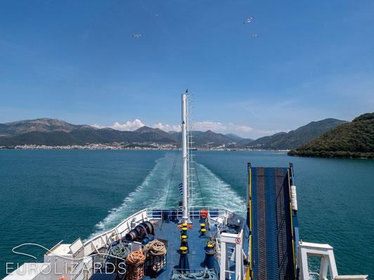On the ferry to Corfu: Looking back to Igoumenitsa