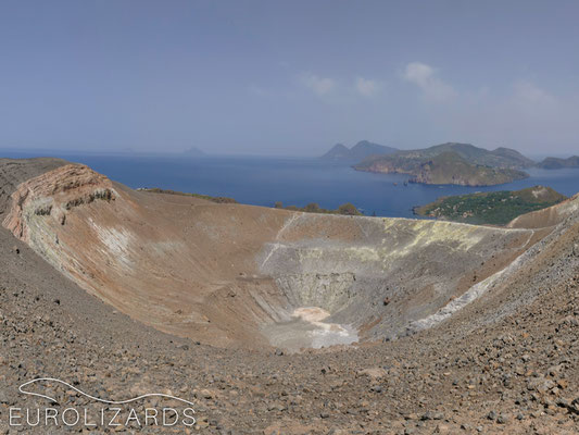 Panoramic view on Gran Cratere with Vulcanello peninsula, Lipari and Salina in the back