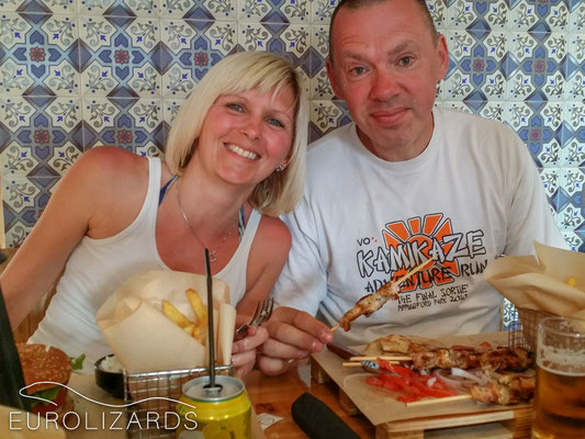 Alison and Paul enjoying a quick Greek snack before flying back to the UK