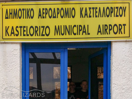 Kastellorizo airport: This beautiful lizard trip got out of control somehow, as soon as the British colleagues arrived...