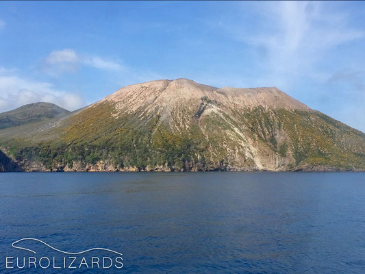 …passing Vulcano towards Sicily…