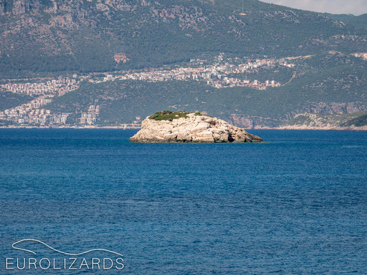 Psomi islet as seen from Kastellorizo with the Turkish city of Kaş in the back