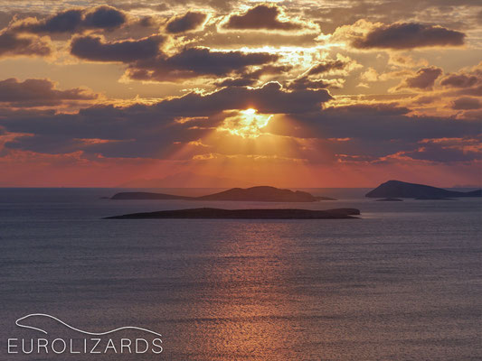 Sunrise with Nisiros Island in the far back