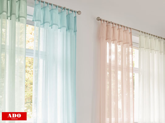 Gardinen mit Leinenstruktur, Gardinen und Vorhänge in Pastellfarben, pflegeleichte Gardinen
