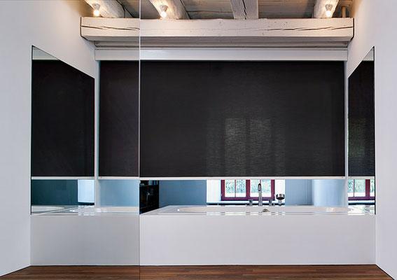 mhz-Rollo, Rollos für große Fensterflächen, Rollo schwarz, Rolloberatung in Freigericht und Gründau