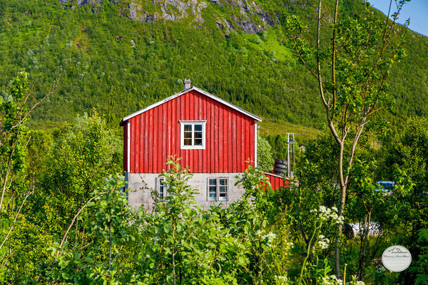 "Bild: Sortland, Vesteralen, ""red house on parking place"", www.2u-pictureworld.de"