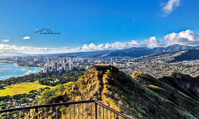 Bild: Bilick vom Diamond Head auf Waikiki, Oahu, www.2u-pictureworld.de
