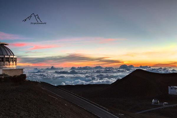 Bild: Teleskop im Abendrot, Mauna Kea Hawaii