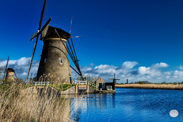 "Bild: Kinderdijk windmill in the morning sun, Netherlands, ""blue surrounding""; www.2u-pictureworld.de"