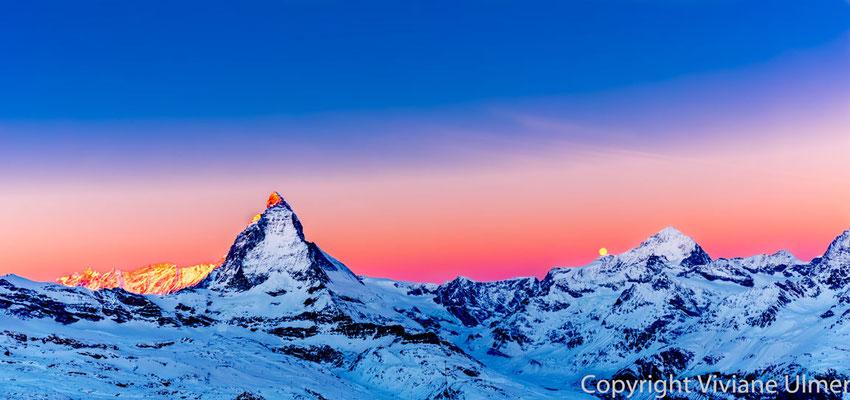 """Bild: """"Monduntergang"""", Matterhorn, Blick vom Gornegrat"""