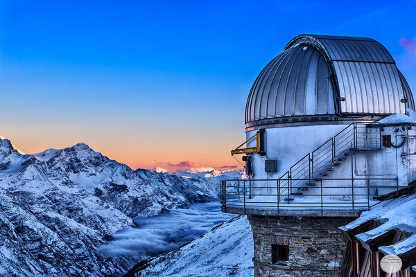 "Bild: morning on the telescope Kulm-Hotel, Gornegrat, Zermatt, Switzerland; ""morning view from the telescope""; www.2u-pictureworld.de"