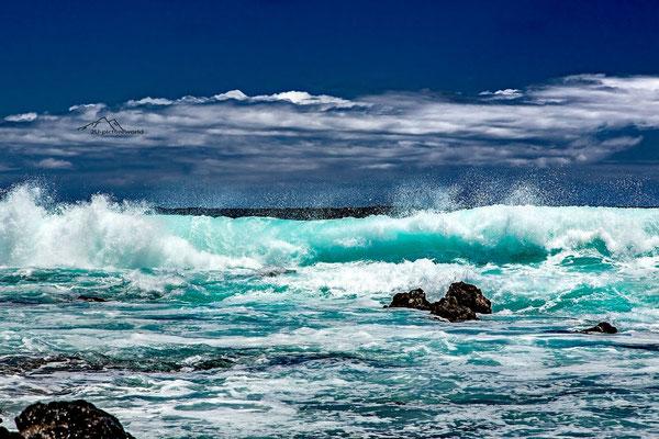 Bild: brechende Wellen, Ohau Ostküste
