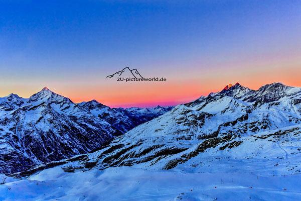 """Bild:""""morgendliche Farbschichtung"""", auf dem Gornegrat, Zermatt"""
