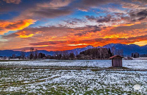 """Bild: Kochelmoos bei Großweil zum Sonnenaufgang, """"orange morning"""", Kochelmoos"""", www.2u-pictureworld.de"""