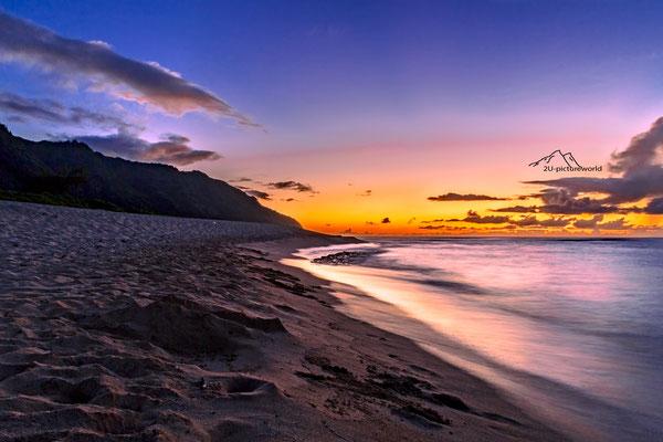"""Bild: """"abendliches Farbenspiel"""", Nord-Westküste Oahu"""