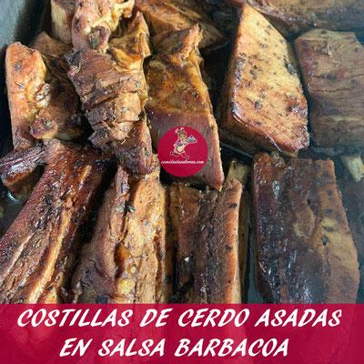 COSTILLAS DE CERDO ASADAS EN SALSA BARBACOA