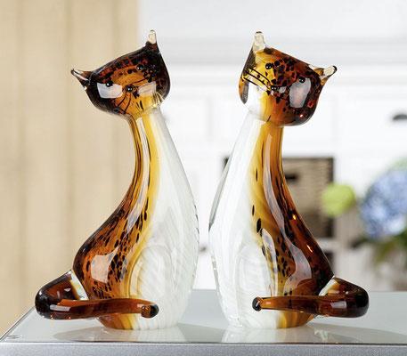 Statues chats verre confectionnés à la main