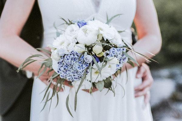 Bouquet rond mariée, hortensia