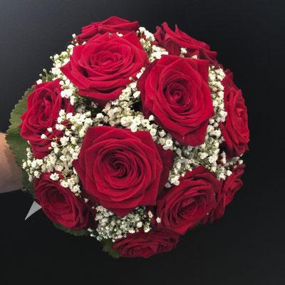 Bouquet rond mariée, roses rouges