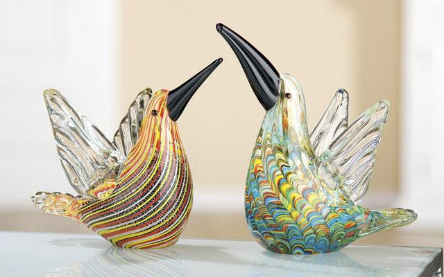 Statues colibris verre confectionnés à la main