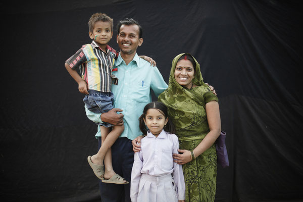 """Kheti, 32, and Anita Ratore, 28, came with their children Happy, 5 and Ananuka, 7: """"This is our second day here. We are very concerned about education and the Yatra will definitely help. The childrens favorite game is Poo in the Loo."""""""
