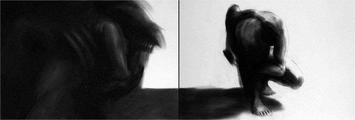 Verwandlung 20, Kreide auf Papier, 2005, 200 x 70 cm