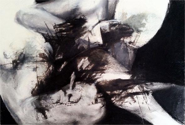 Verletzungen, Monotypie und Kreide auf Papier, 2016, 100 x 70 cm