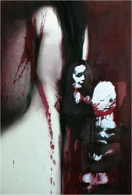 Osterblut, Collage, Kreide und Tempera auf Papier, 2005, 70 x 100 cm